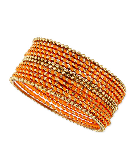 Skinny Beaded Wrap Bangles, Coral