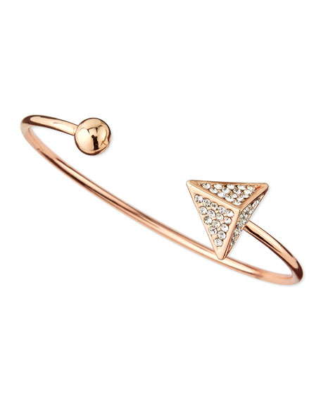 Pave Arrow and Ball Cuff Bracelet, Rose Golden