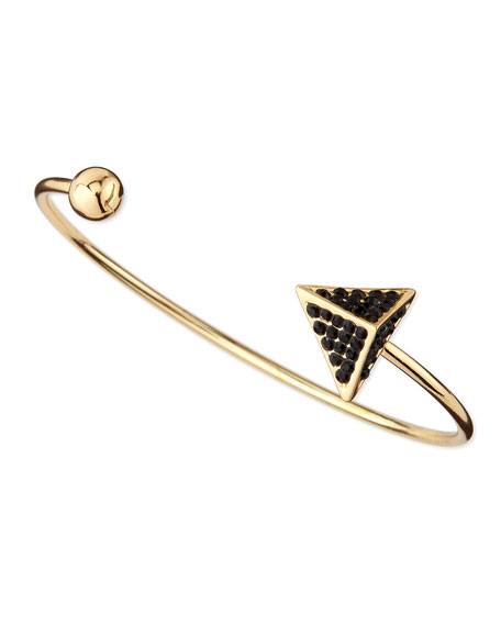 Pave Arrow and Ball Cuff Bracelet, Golden/Black