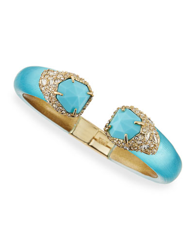 Vert d'Eau Double-Stone Hinge Bangle, Blue/Golden