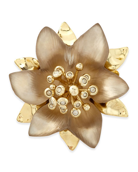 Vert d'Eau Small Lucite Flower Pin, Taupe