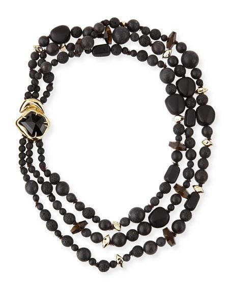 Miss Havisham Three-Strand Black Onyx Necklace