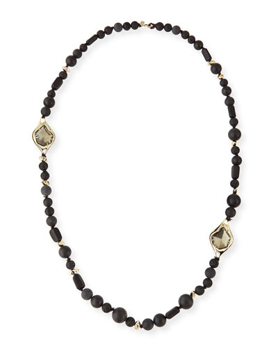 Miss Havisham Onyx Beaded Necklace, 40