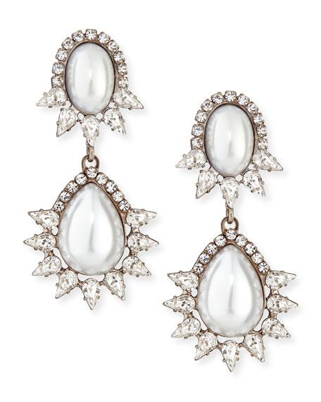 Penelope Simulated Pearl & Crystal Drop Earrings