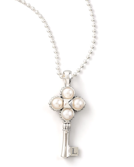 Silver Pearl-Key Pendant Necklace, 33""