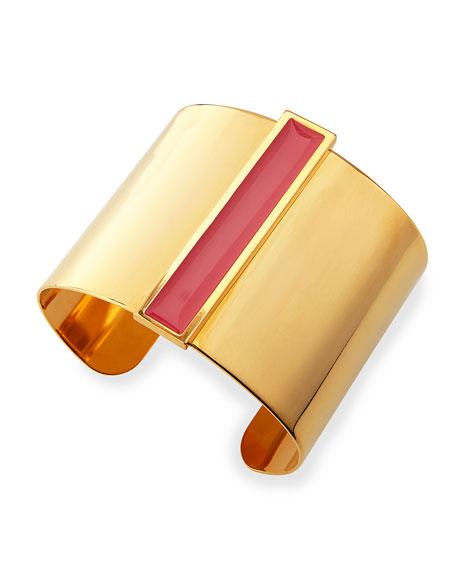 Enamel Channel Cuff Bracelet, Pink/Golden