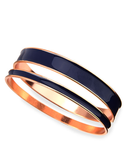 Two-Piece Channel Bangle Set, Navy/Rose