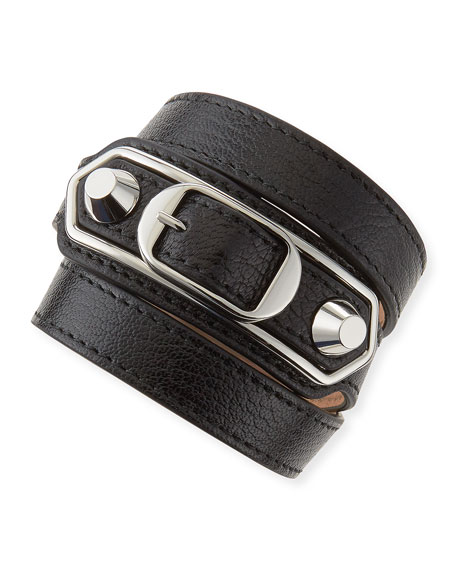 Balenciaga Classic Leather Wrap Bracelet, Black