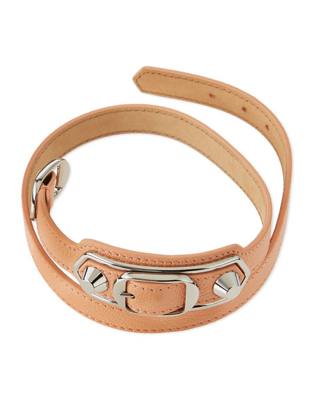 Classic Leather Wrap Bracelet, Pink