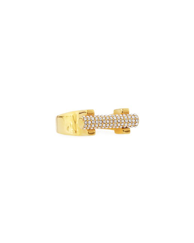 14k Gold-Plated Crystal Bar Ring