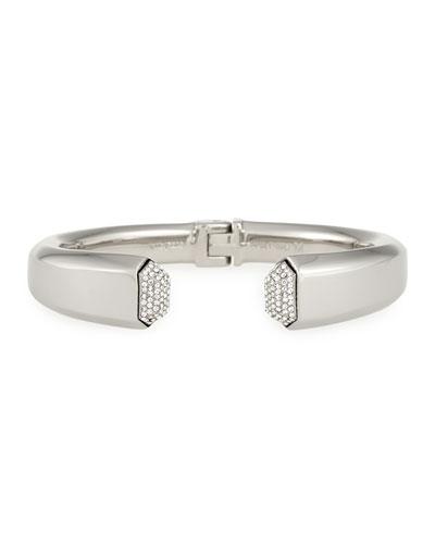 Obsidia Crystal Hinge Bracelet, Silver Plate