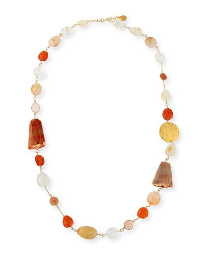 Long Multi-Stone Necklace, Orange