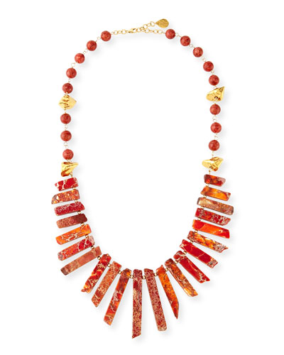 Coral & Gold-Dipped Nugget Necklace