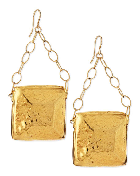 Devon Leigh Gold-Dipped Square Medallion Earrings