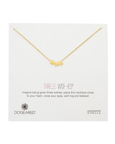Gold-Dipped 3 Wishes Triple Star Necklace