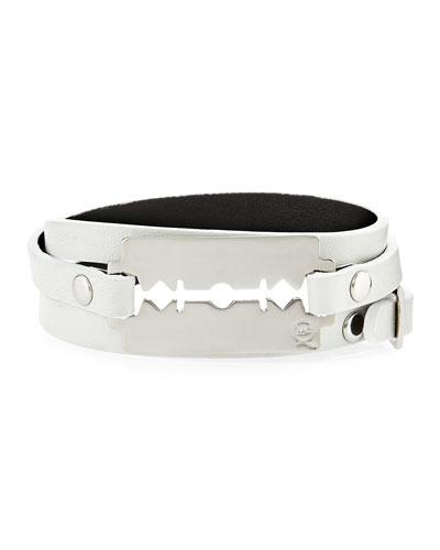 Leather Razor-Blade Wrap Bracelet, Ivory
