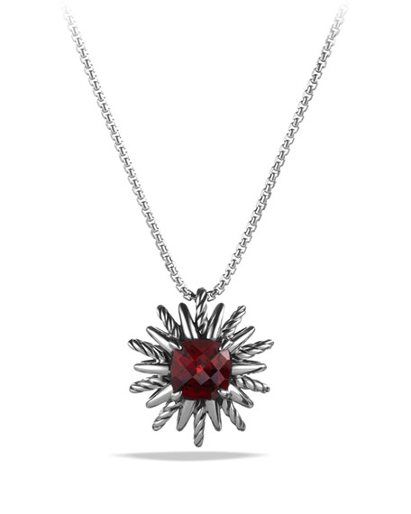 Starburst Pendant with Garnet on Chain