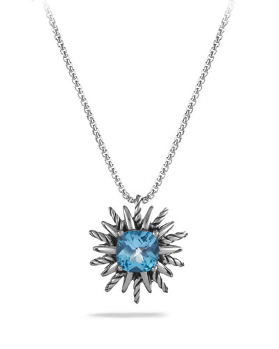 Starburst Pendant with Blue Topaz on Chain