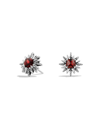 Starburst Stud Earrings with Garnet