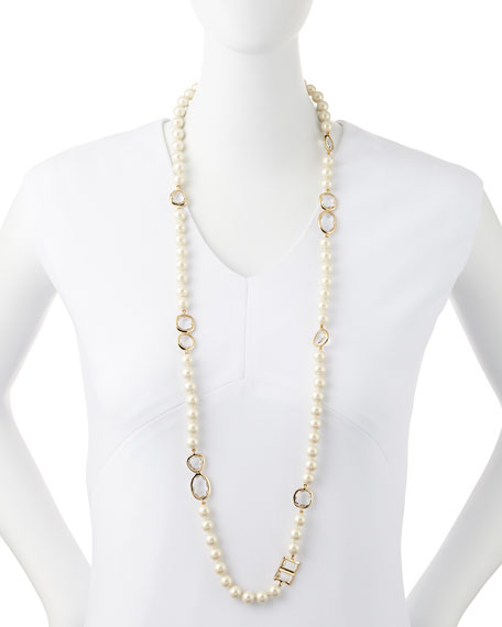faux pearl & crystal necklace