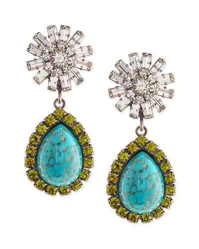 Ranya Turquoise Colored Teardrop Earrings