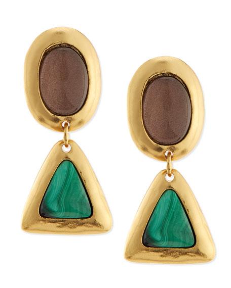 Crush Topaz & Malachite Earrings