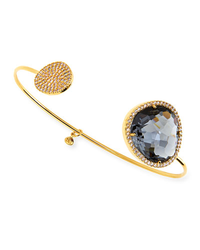 Charcoal-Facet Gold Plated Pinch Bracelet