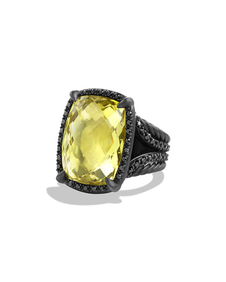 Chatelaine Ring with Lemon Citrine and Black Diamonds