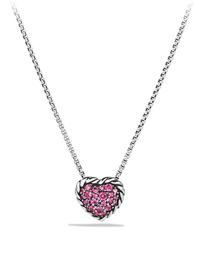 Heart Pendant Necklace with Pink Sapphire
