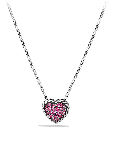 David Yurman Heart Pendant Necklace with Pink Sapphire