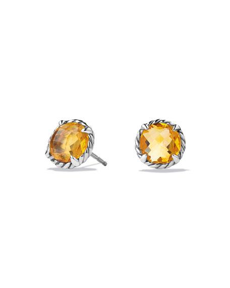 David Yurman Chatelaine Stud Earrings with Citrine