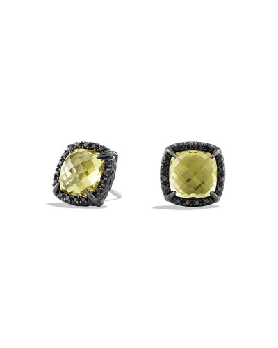 Chatelaine Earrings with Lemon Citrine and Black Diamonds