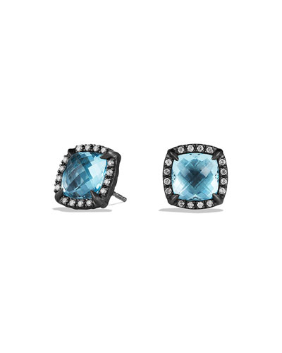 David Yurman Chatelaine Earrings with Blue Topaz and