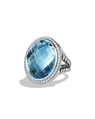 Oval Ring with Blue Topaz and Diamonds