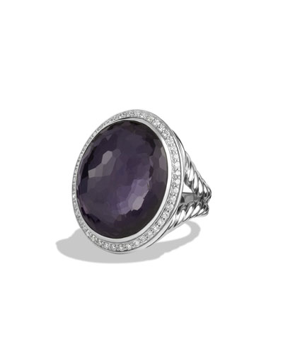 Oval Ring with Black Orchid and Diamonds