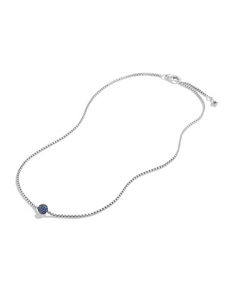 Petite Pave Necklace with Blue Sapphires