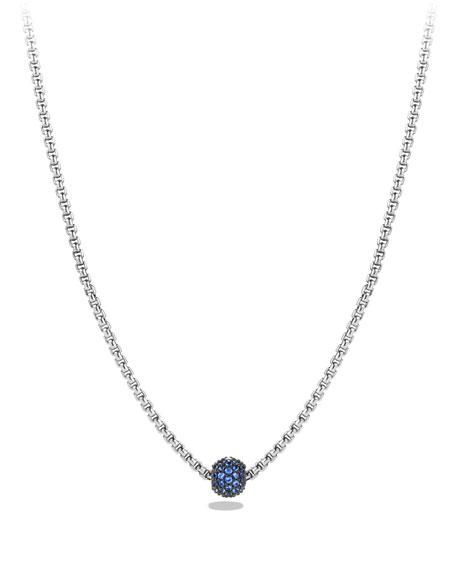 David Yurman Petite Pave Necklace with Blue Sapphires