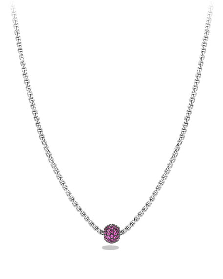 David Yurman Petite Pave Necklace with Pink Sapphires