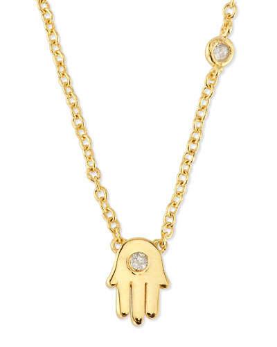 Hamsa Pendant Bezel Diamond Necklace