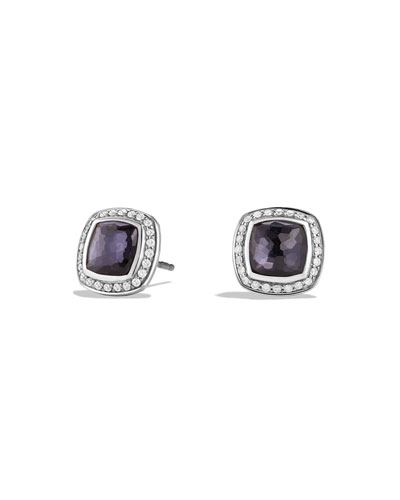 Albion Stud Earrings with Black Orchid and Diamonds