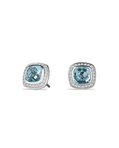 Albion Stud Earrings with Blue Topaz and Diamonds