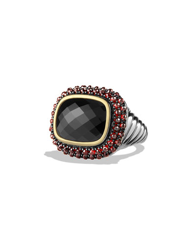 Ring with Black Onyx, Garnet and Gold