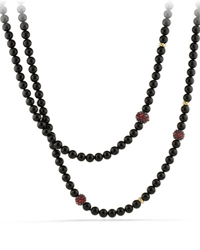 Osetra Necklace with Black Onyx, Garnet and 18k Gold