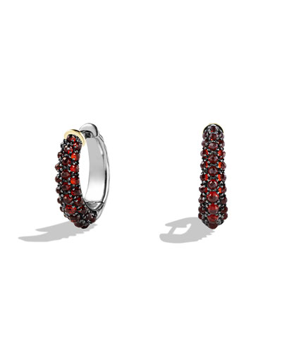 Ostera Hoop Earrings with Garnet and Gold