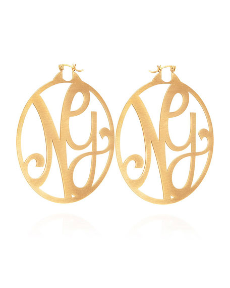 K Kane Monogram Large Signature Hoop Earrings, Yellow Gold Vermeil