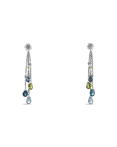Capri Earrings with Hampton Blue Topaz, Blue Topaz, Peridot, and Gold