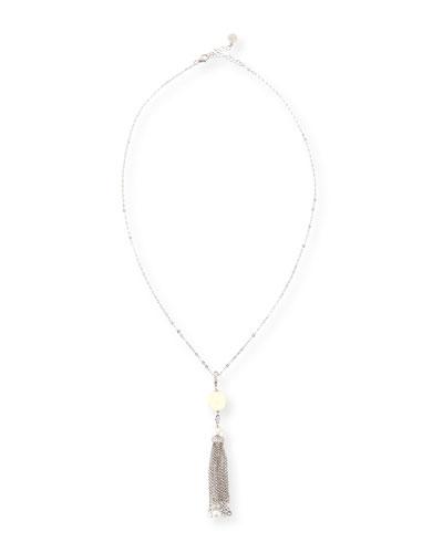 Pearl & Cubic Zirconia Tassel Necklace