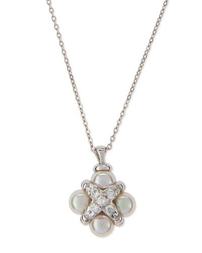 Pearl & CZ Cross Pendant Necklace