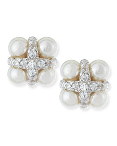 Pearl & CZ Cross Stud Earrings