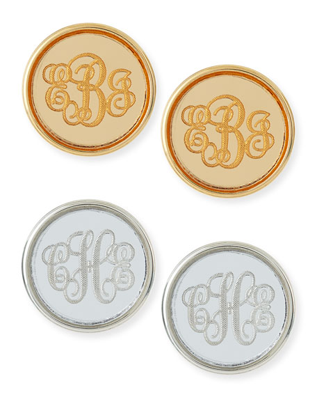 Moon and Lola Vineyard Round Monogram Script Earrings